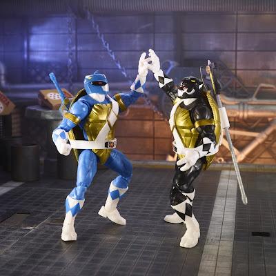 Mighty Morphin Power Rangers x Teenage Mutant Ninja Turtles Lightning Collection Black Ranger Donatello & Blue Ranger Leonardo Action Figure 2-Pack by Hasbro
