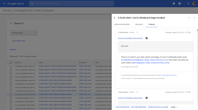 Security center improvements: Gmail content, saved investigations, and more