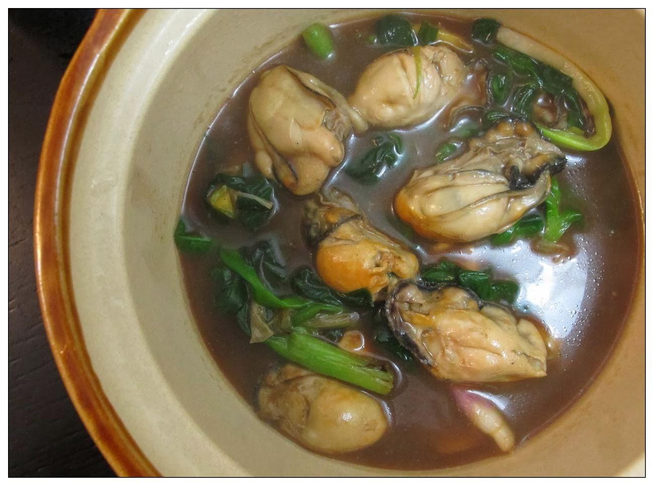Babymama: 薑蔥生蠔 + 茄汁羊蔥豬扒 + 菜心 ( 6-FEB-2014 )