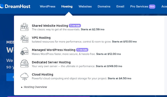 VPS, Dedicated, Manged WordPress and other web hosting plans on DreamHost
