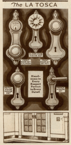 1930 catalog image of Sears La Tosca door handle hardware