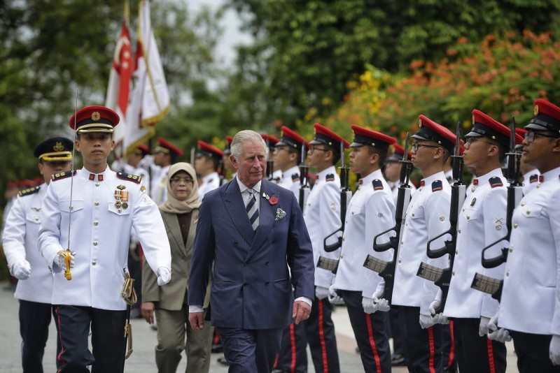 Britain's Prince Charles and his wife Camilla, the Duchess of Cornwall, were welcomed by President Halimah Yacob and her husband Mohamed Abdullah Alhabshee at the Istana on Oct 31, 2017.