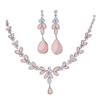 Komlpet biżuterii różowo błękitny na ślub.