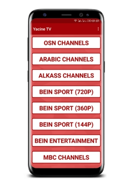 مشاهدة أي مبارة مجانا تطبيق Yacin TV