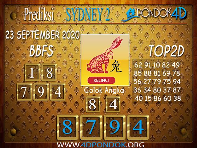 Prediksi Togel SYDNEY 2 PONDOK4D 23 SEPTEMBER 2020