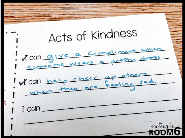 I Can statements for how we can be kind in a 3rd grade classroom