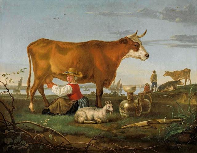 Альберт Кёйп - Пейзаж с дояркой у реки. 1650-55