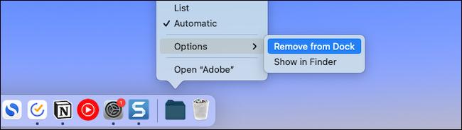 إزالة ملف أو مجلد من Mac dock