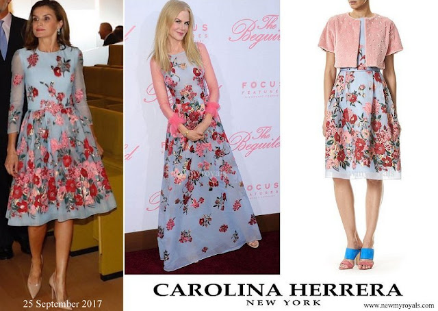 Queen Letizia wore Carolina Herrera Embroidered Dress from the Resort 2018 Collection