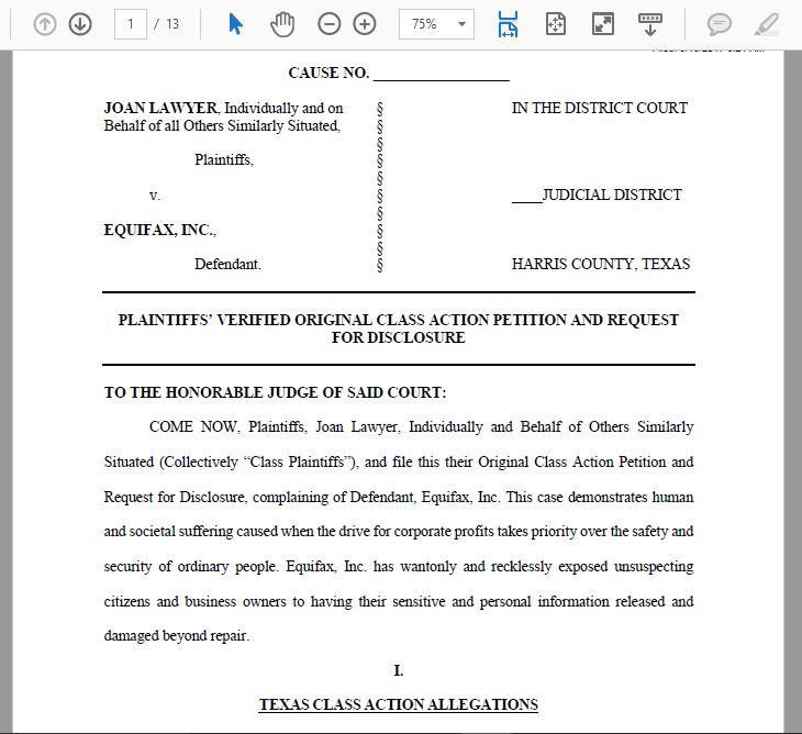 Consumer Debt Litigation (mostly Texas) Lawyer v Equifax Inc