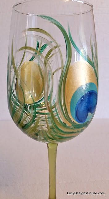 hand painted peacock feather wine glass
