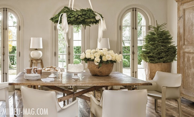 Pam Pierce beautiful dining room Christmas decorated white