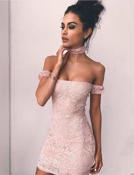 Modest Short Off-the-shoulder Bodycon Homecoming Dress | Lace Party Gown