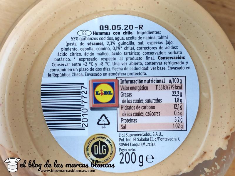 Ingredientes e información nutricional del Hummus de garbanzo con chile (vegano) CHEF SELECT (Lidl) en El Blog de las Marcas Blancas (www.blogmarcasblancas.com)