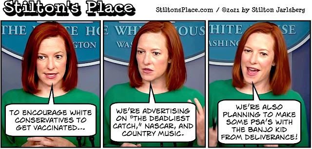 stilton's place, stilton, political, humor, conservative, cartoons, jokes, hope n' change, jen psaki, biden, covid, pandemic, vaccine, nascar