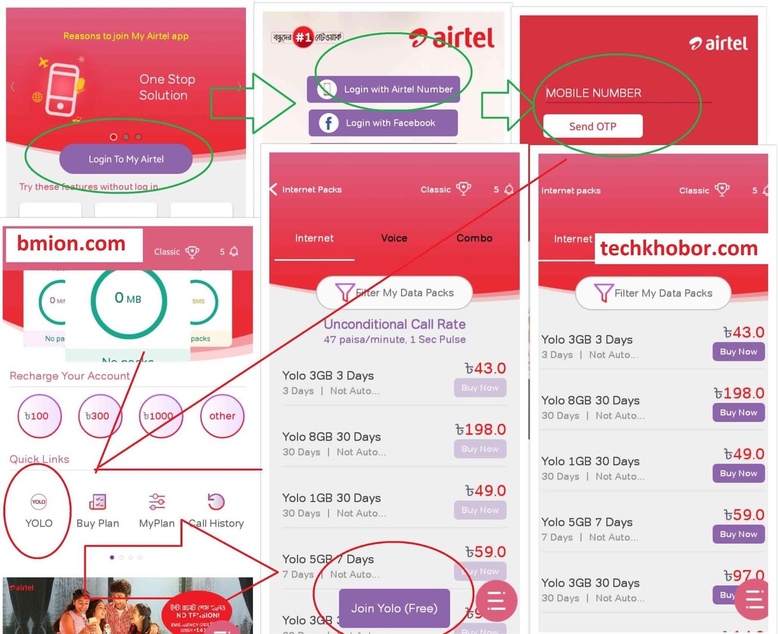 airtel Yolo Pack Internet Offers 500MB 14Tk,1GB 33Tk, 3GB 43Tk,3GB