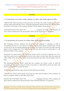 board resolution for keeping books of accounts other than registered office