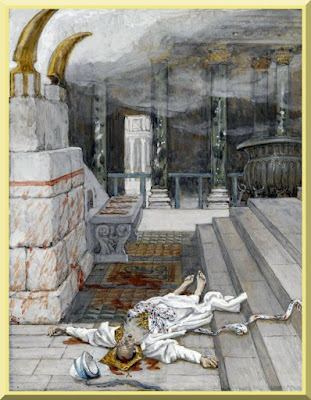 """""""Zacharias Killed Between the Temple and the Altar"""" -- by James Tissot - PD-1923"""