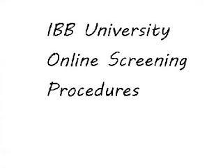 IBB University Online Screening Procedures 2019/2020