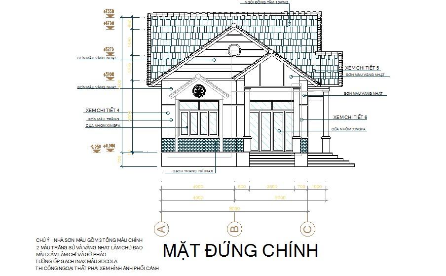 Mặt đứng chính của ngôi nhà