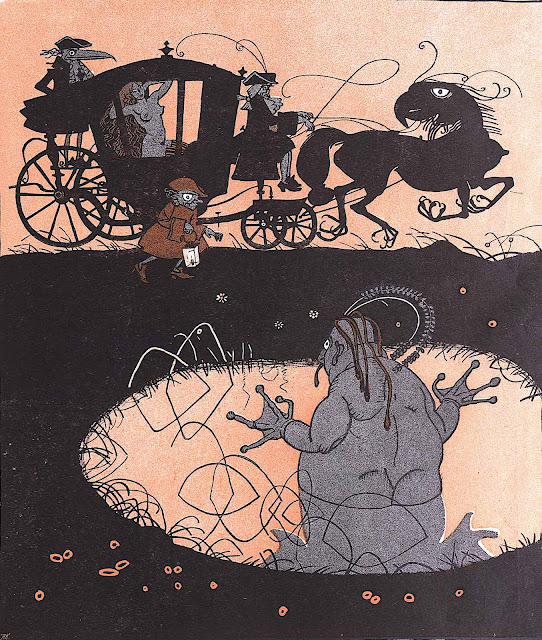 Franz Wacik 1906, from a bog, a demon watches a passing coach with a naked woman