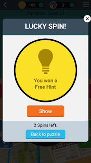 Lucky you got a free spin from word trip game