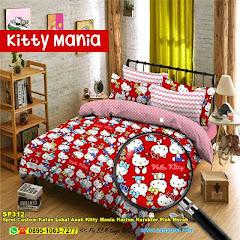 Sprei Custom Katun Lokal Anak Kitty Mania Kartun Karakter Pink Merah