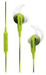 The Bose SoundSport in Energy Green in-ear headphones for iOS devices can stay in your ear comfortably all day long and are sweat and weather resistant.