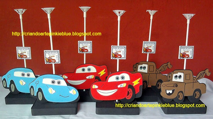 Pinkie Blue Artigos Para Festa Carros Da Disney Centro De Mesa Eva 1