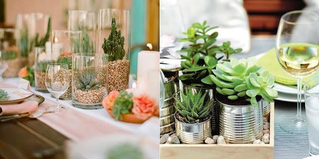 Decoração com flores plantadas em vasos