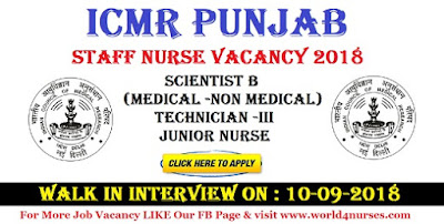 Staff Nurse Vacancy in ICMR Punjab