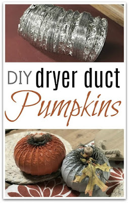 Pin for Pinterest with dryer hose pumpkins