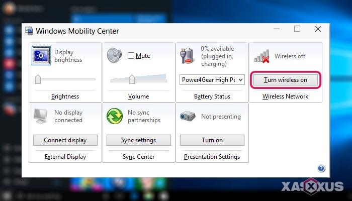 Cara mengaktifkan WiFi di laptop dengan Windows Mobility Center