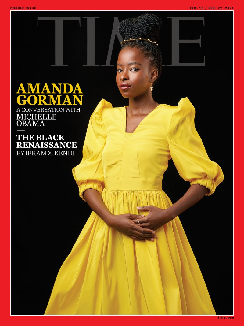 """Amanda Gorman, the poet of Joe Biden's inauguration, fronts the cover of the US magazine """"Time"""""""