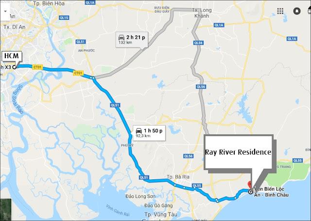 Vị trí căn hộ Ray River Residence Hồ Tràm Vũng Tàu
