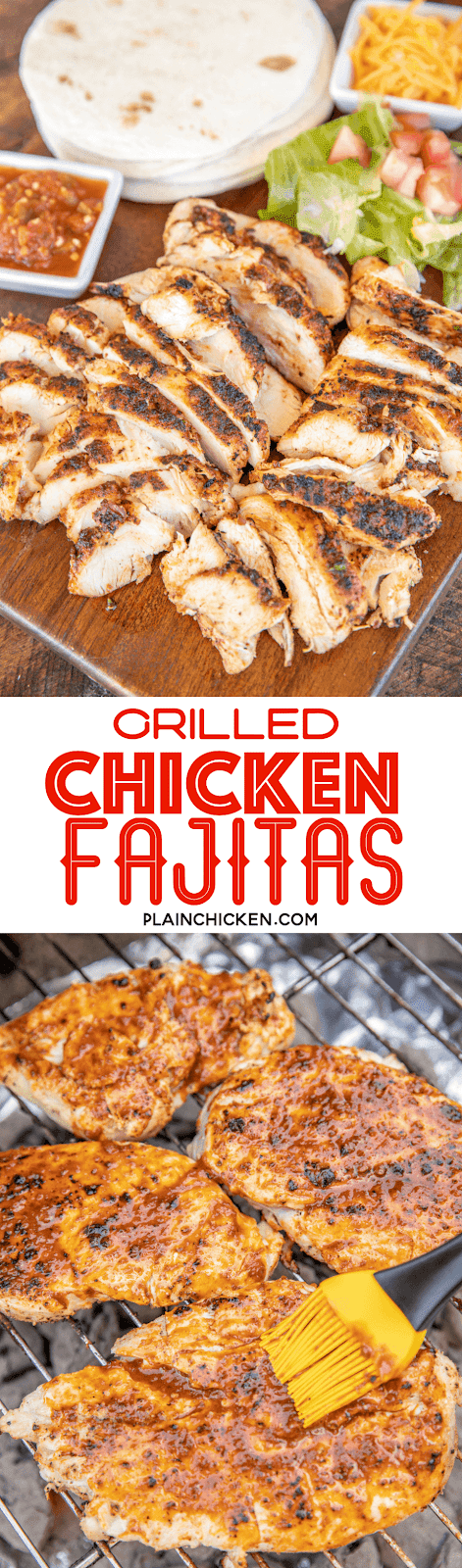 collage of grilled chicken fajitas