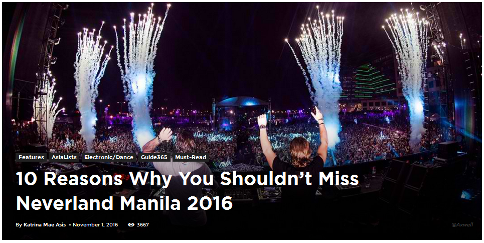 10 Reasons Why You Shouldn't Miss Neverland Manila 2016
