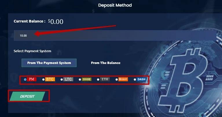 Пополнение баланса в Bitvio 2