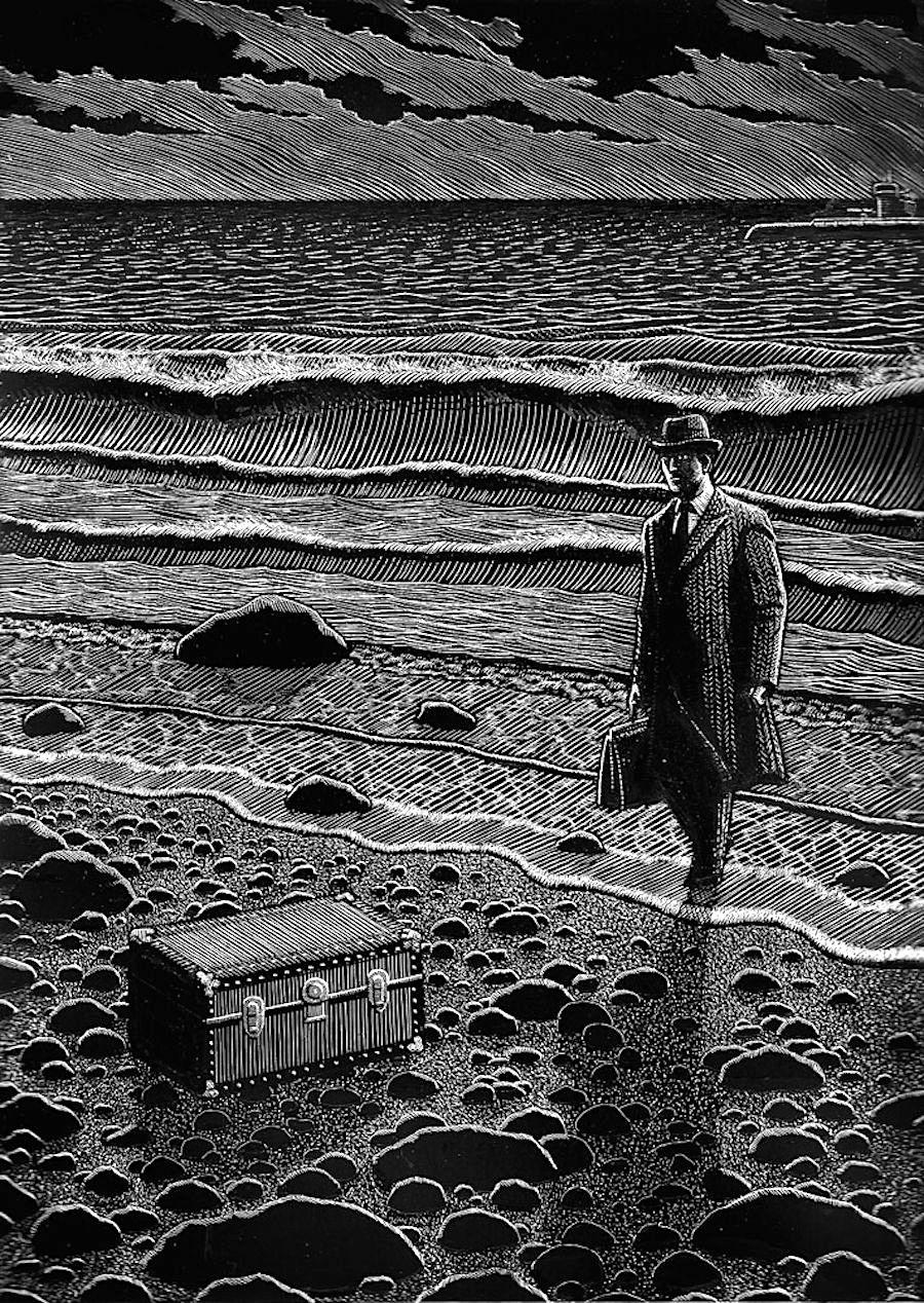 a Douglas Smith illustration, man at beach