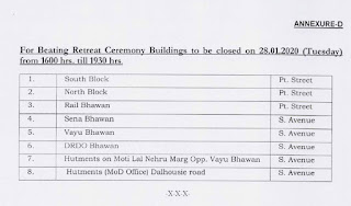 Early Closure of Central Government Offices in connection with Republic Day Parade and Beating Retreat Ceremony during January, 2020