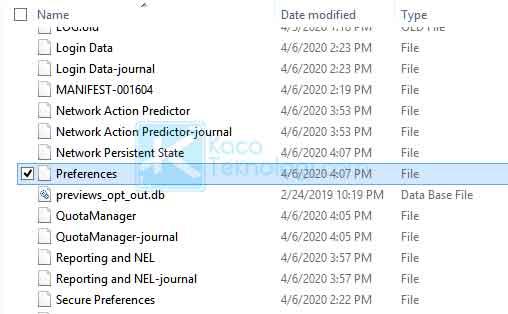 Banyak pengguna yang menyatakan bahwa dengan menghapus file preferences yang ada di folder Chrome dapat mengatasi error ini. Berikut caranya: