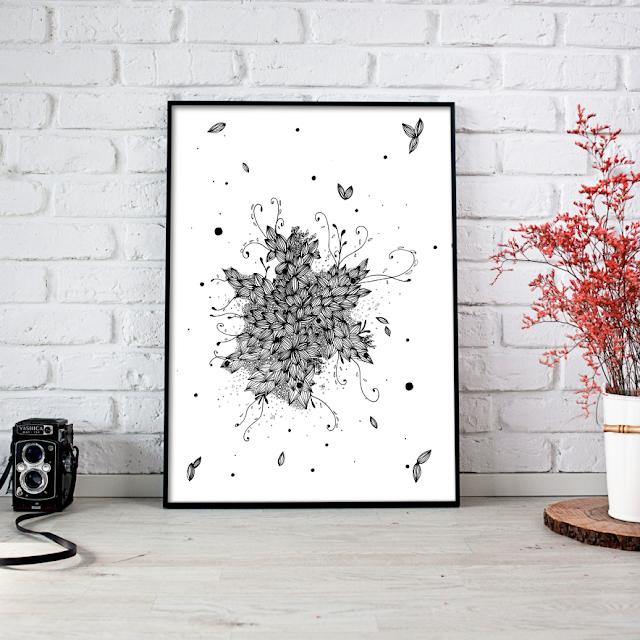 Almonds Doodle Floral Art