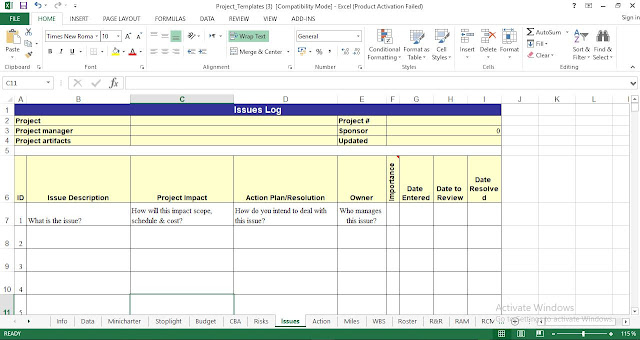 Issues Log Template Excel