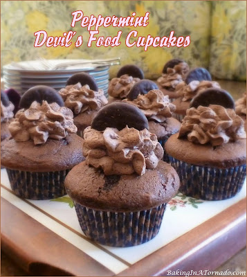 Peppermint Devil's Food Cupcakes, for all chocolate and mint lovers. Peppermint patty pieces are baked into and garnish this decadent treat. | Recipe developed by www.BakingInATornado.com | #recipe #chocolate
