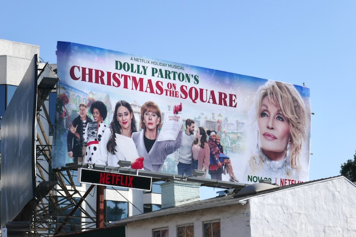 Dolly Partons Christmas on the Square billboard