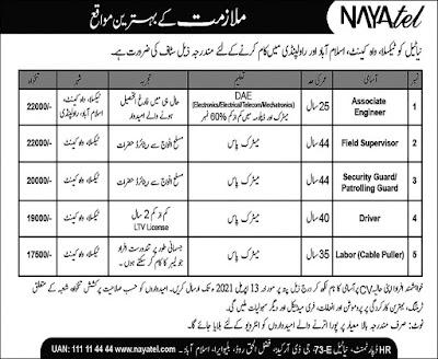 Jobs In NAYA Tel, Pakistan