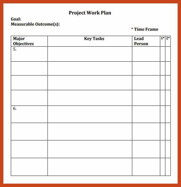 simple work plan template