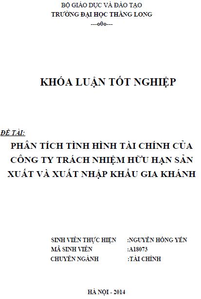 Phân tích tình hình tài chính của công ty TNHH Sản xuất và Xuất nhập khẩu Gia Khánh