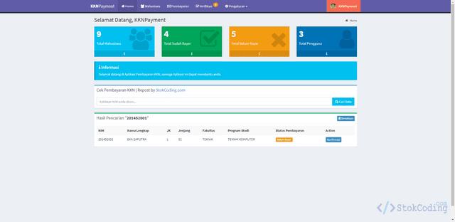 Aplikasi Pembayaran KKN Berbasis Web (Codeigniter)