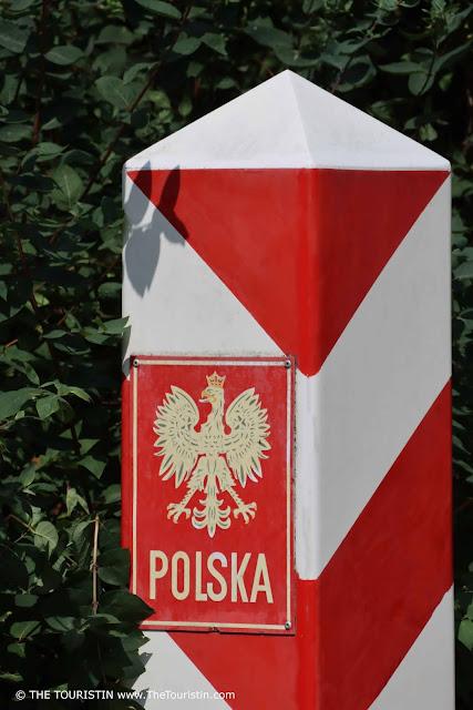 Border stone in red and white for Poland - Polska.